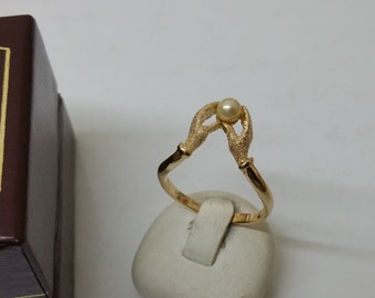 Ring silver gold plated 925 hands with Pearl SR728