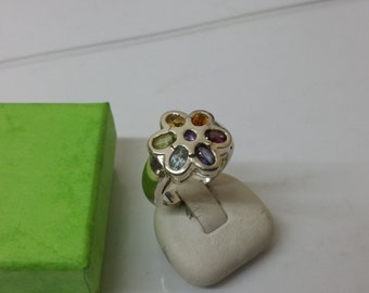 Silver 925 ring with 7 colored Crystal stones SR733