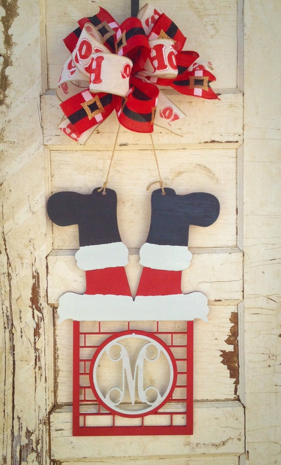 Santa In The Chimney Christmas Door Hanger Custom Monogram