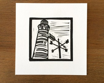 Lighthouse Block Print. Cape Leeuwin, WA, Australia.