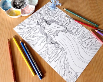 adult coloring page, fantasy illustration, coloring page, coloring sheet, printable fantasy girl doodle, coloring art, woodland drawing