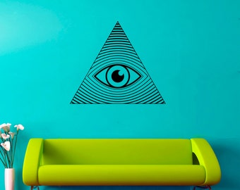 All Seeing Eye Decal All Seeing Eye Sticker Illuminati Symbol Sticker Home Art Decor (6asee)