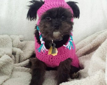 Crochet Pet Hat for dogs and Cats Pink with Pom Pom Ear Flaps and Elastic Band