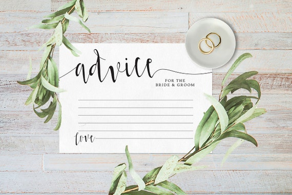 Advice for the bride and groom, Wedding advice cards, Advice for the bride, Digital download, Reception decor, Words of wisdom cards