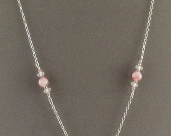 Pink Glass Bead Sterling Silver Earring & Necklace Set