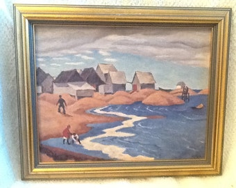 """Artagraph framed 3D reproduction #702 of Canadian Group of Seven artist Edwin Holgate's """"Fishermen's Houses"""".  McMichael Gallery licensed."""
