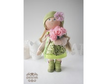 Sunny doll Tilda doll Art doll handmade green blonde colors Baby doll Soft doll Cloth doll Fabric doll toy by Master Yulia Postnova