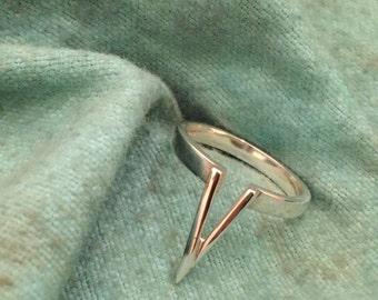 Contemporary Handmade Sterling V Ring Size O