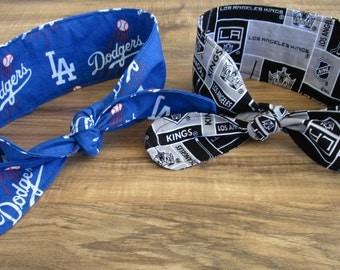 "Rosie the Riveter Inspired Headband, LA Dodgers Headband, LA Kings Headband, Dolly Bows, Rockabilly Headband, 28"", 33 1/2"", 37"""