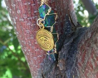 Rainbow quartz wrapped necklace