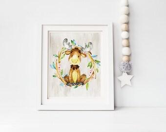 Nursery Wall Art, Nursery Decor, Woodland Nursery, Woodland Animals, Baby Gift Woodland Nursery Printable Art Nursery art, Woodland moose