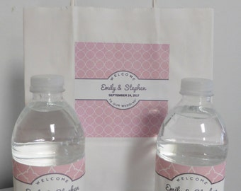 14 Colors-Wedding Hotel Welcome Bag with Custom Label AND 2 Water Bottle Labels per Bag, Hotel Wedding Welcome Bag, DIY Wedding Guest Labels
