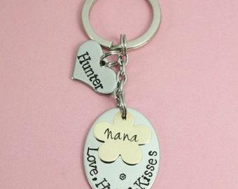 "Personalised ""Love, Hugs & Kisses"" Hand Stamped Key Ring   Gift For Mum/Nanny/Grandma/Auntie/Mummy/Mum/Sister/Great Gran   Keepsake Keyring"