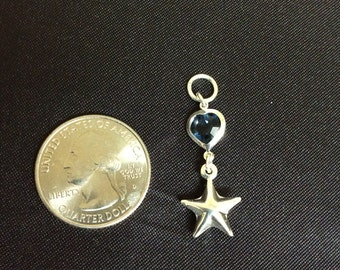 Sterling Silver Sapphire Starfish Charm
