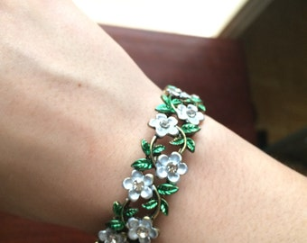 white and green floral 1/2 inch cuff bracelet