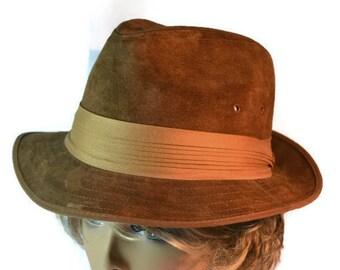 Kangol, Fedora Hat, Trilby, Suede, Cognac, Men Women Hats, Hat, Vintage Hat,Accessories, Cavanagh Brown