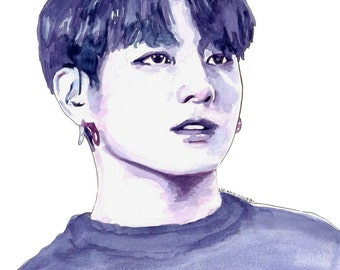 BTS Watercolour Portrait Painting Print: Jungkook (Jeon Jungkook)