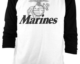 Marine Corps. U.S. - New - United States Marines USMC Military Raglan Retro Throwback [SF239]  Baseball T Shirt - Small to 2XL