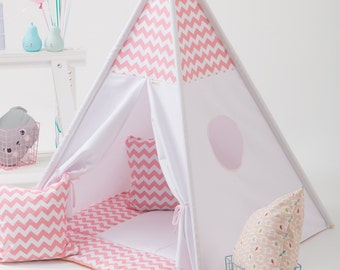 Canvas Teepee, Play Tent, Kids Teepee, Childrens Teepee, Teepee Tent, Tipi, Playhouse, Kids Teepee Set Canvas Play Tipi Tent