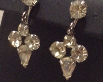 Pear Rhinestone Screw Back Earrings, Rhinestone Dangle Earrings 1429-3