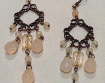 """Vtg """"Art Deco Pink LUCITE Dangle Pierced EARRINGS"""" Pink Lucite Earrings 2334-5"""