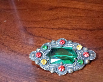 Multi-Colored Diamond-Shaped Brooch