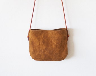 SALE Small brown waxed canvas crossbody bag with round leather straps