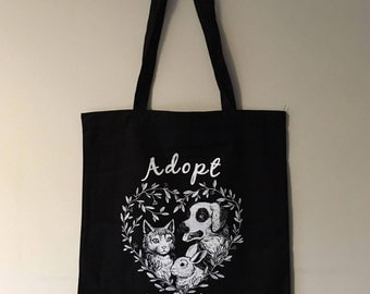Adopt Don't Shop Tote Bag - Cotton - Vegan - Ethical