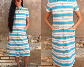 SALE Vintage 60's Blue and White Striped Button Down Secretary Dress SMALL/MEDIUM