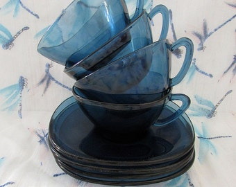Cobalt Blue Glass Cups & Saucers