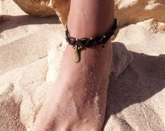 Macrame Black Anklet With Indian Brass Beads. Hippie Boho Tribal Anklet. Gypsy Anklet. Beach Anklet. Indian Style Anklet. Bohemian Anklet.
