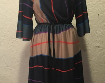 Vintage Dress- Multi Colored Striped 3/4 Sleeve Dress