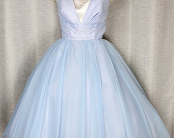 Powder Blue Confection 1950's Full Skirted Party Prom Dress