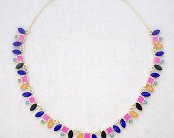 Statement necklace, colorful necklace, gold statement necklace, gold necklace, colorful jewelry