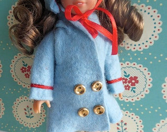 """VINTAGE COAT and HAT, in pale blue felt for the Mini American Girl doll and other 7"""" dolls such as Garden Gals, Lottie and Riley Kish"""