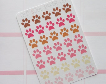 50% OFF CLEARANCE Dog Paw Planner Stickers - Pink & Brown