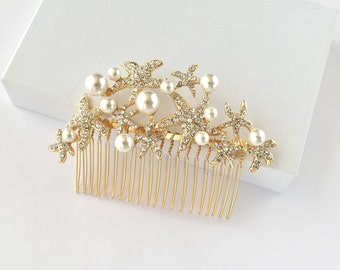 Gold Starfish Hair Comb Crystal Wedding Hair Accessories Bridal Rhinestone Hair Comb Wedding Headpieces