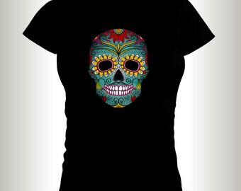 Sugar Skull t-shirts, Skull shirts,shirts,ladies t-shirts,Dia De Los Muertos shirts,Halloween T-shirts,skull and bones.