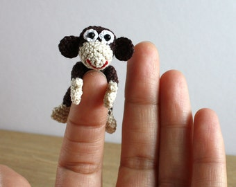 Miniature Amigurumi Monkey, Tiny Doll, The symbol of the year 2016, Soft Doll, Handmade Monkey, Crochet Monkey Toy, Crochet Animal Toy