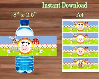 Farm Animals Water Bottle Labels - PDF - Instant Download
