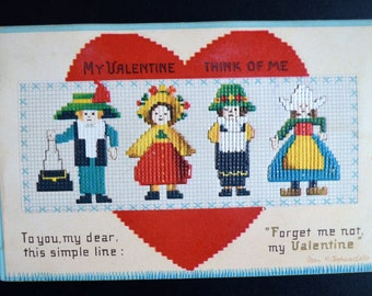 Valentine Postcard Embossed Needlework Ellen Clapsaddle