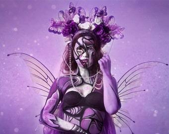 Butterfly goddess purple ethereal headdress