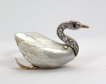 Victorian Edwardian Carved Pearl Swan Ring set on Diamond Eternity Band with 14k Yellow Gold Size 6.5
