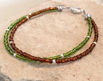 Green and brown double strand seed bead bracelet, fall bracelet, sterling silver bracelet, boho bracelet, small bracelet, gift for her