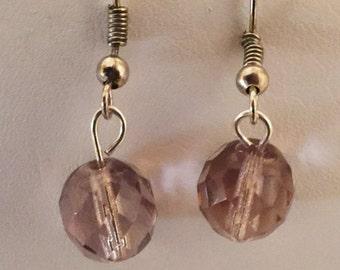 Light Purple Crystal Beaded Pierced Earrings Silver Tone