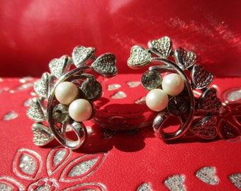 Coro Faux Pearls and Rhinestones , Heart Shape Leaf Design  Clip on Earrings