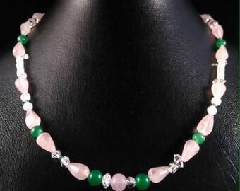 Quartz necklace pink - green quartz