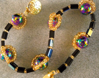 "Blue & Gold ""Saturn"" Bracelet, Metallic Blue-Gold Beaded Bracelet"
