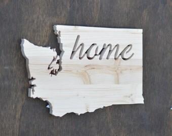 "Washington State Wood Cutout ""Home"""