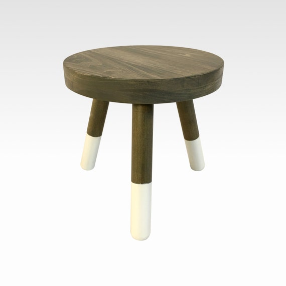 Wood Three Legged Stool Modern Plant Stand In Weathered Gray